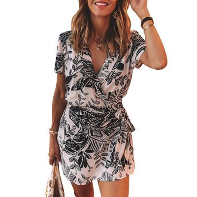 Casual Summer Fashion Women Mini Dress Short Sleeve V Neck  Ladies Dress Floral Printed Betled Beach Sundress Female Dresses D30