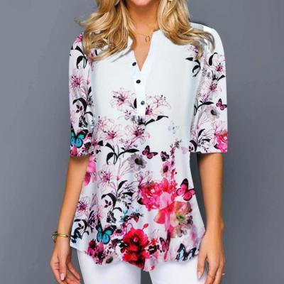 Shirt Women 2020 Plus Size Blouses Tops Shirt Women Casual V Neck Shirt Ladies Blouse Loose Floral Print Tunic Shirt