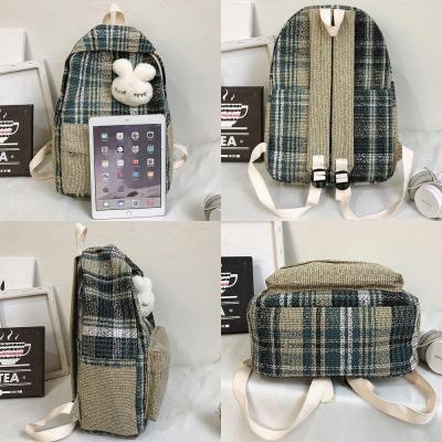 Student Female Linen Backpack Cute Women Fashion School Bag Harajuku Girl Kawaii Backpack Canvas Plaid Lady Bags Book Luxury New