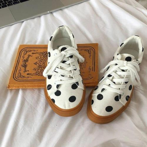 Polka Dot White Canvas Shoes Breathable Women Summer Sneaker Lace Up Ladies Walking Flat Shoe 2021 Fashion Women Flats Shoes