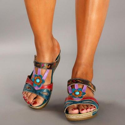 Summer Sandals for Women Shoes Flats Mixed Color Retro Platform Sandals Shoes Slip on Slides Women Footwear Wedges Rome Open PU