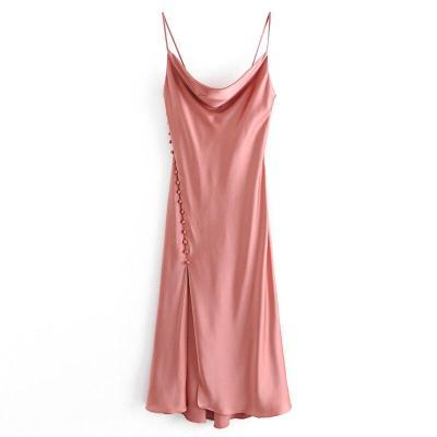AGong Braces Dresses Women Fashion Sexy Silk Satin Textured Lingerie Dress Women Elegant Sleeveless Dresses Female Ladies IK