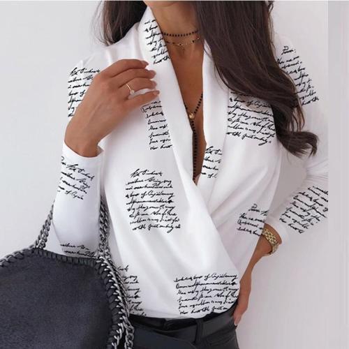 Sexy Deep V-Neck Blouse Print Elegant Office Ladies Pullover Shirt Casual Women Autumn Winter Long Sleeve Tops Blusas Streetwear