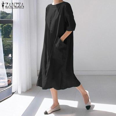 Stylish Back Split Midi Dress Women's Summer Sundress ZANZEA 2020 Casual Short Sleeve Long Vestidos Female O Neck Robe Femme 5XL