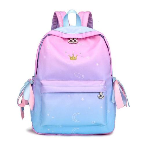Gradient Women's Travel Backpack Ergonomics Shoulder Strap School Bags Candy Color Earphone Hole Female Crown Zipper Backpack