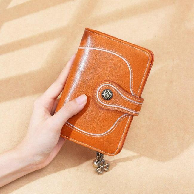 New Vintage Style Women Small Wallet Cowhide Leather Wallet Female Short Wallet Women Coin Purse Sun Flower Hardware Pendant