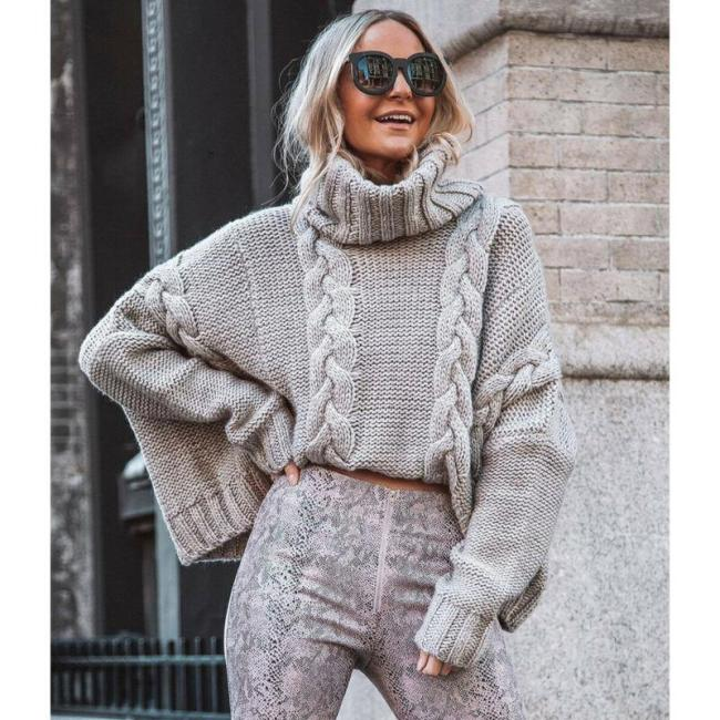 Autumn Women Long Sleeve Pure Slim Sweater Winter Knitted Turtleneck Casual Cashmere Pullover Turtleneck Split Cuff Basic Top