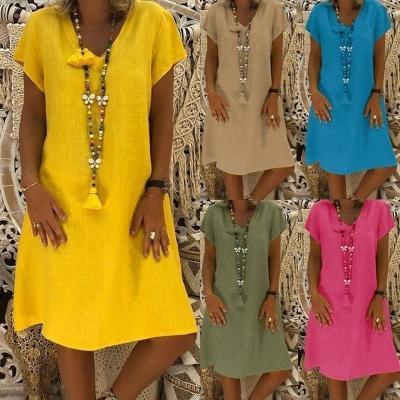 Women Dress Plus Size Dresses Womens Loose Summer Style Feminino Vestido Cotton Casual Big Size Ladies Dress Boho Sundress #40