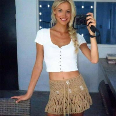 Women High Waist Swim Skirt Knit Hollow Out See Through Sexy Fashion Short Dress Bikini Bottom Swimwear