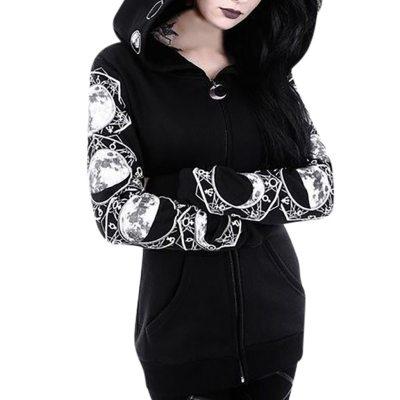 Black Harajuku Gotthic Zipper Sweatshirt Vintage Plus Size Long Sleeve Open Stitch Autumn Geometric Print Warm Long Tops 5XL #Y3