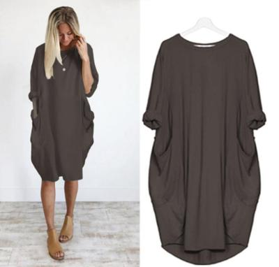 2020 Women Dresses Long maxi dresses pockets vestidos casual dress Beach Solid Color Loose Casual Plus Size Dress