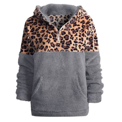 Flannel Fashion Leopard Patchwork Sweatshirt Long Sleeve Women Winter Warm Pullover Fashion Outwear Hooded Casual Tops #Y3