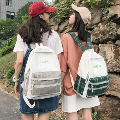 Embroidery letter canvas Plaid women backpack lace fashion ladies backpack teenage girl Panelled female Student book bags school
