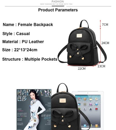 PU Leather School Backpack Bags For Women PU Leather Candy Color Bagpack Bow Decoration Cute Ladies Girls Backpack