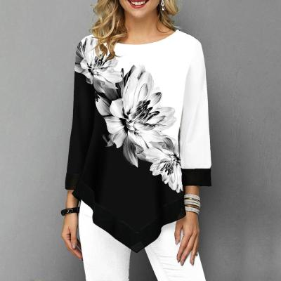 Shirt Women Spring Autumn Printing O-neck Blouse 3/4 Sleeve Casual Hem Irregularity Female fashion shirt Tops Plus Size