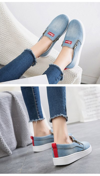 Flat shoes women Canvas shoes Plus size 35-44 Denim shoes women Platform Fashion Zipper Sneakers women Loafers women 2020 New