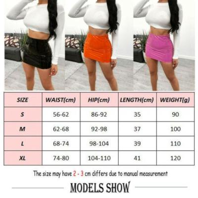 Women Sexy Bright leather Bodycon Slim Micro Mini Skirt Evening Party Clubwear Sexy Solid Color Fashion Cool Skirts 2020 Hot