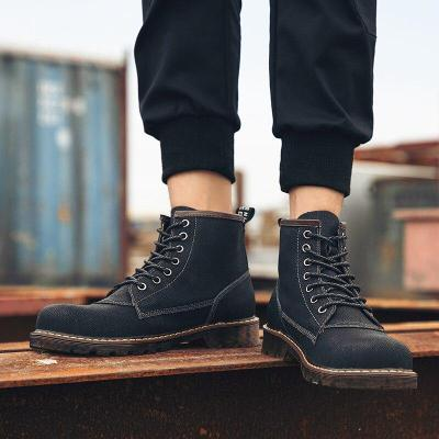 Fashion Genuine Leather Ankle Boots Autumn/winter Men Motorcycle Boots Men Boots High Top Oxfords Men Shoes Outdoor Sneakers