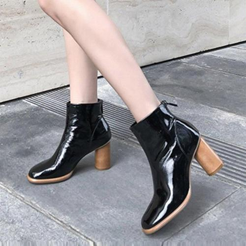 Plus Size Women Ankle Boots High heels Dress Shoes Patent Leather Boots Back Zipper Martion Boots Black British botas mujer 7849