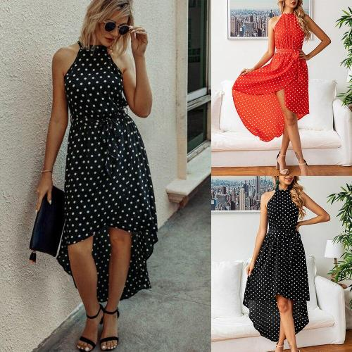 Fashion Polka Dot Print Dress Sexy Sleeveless irregular hem high waist dress Summer loose holiday dress Sundress Beachwear D30