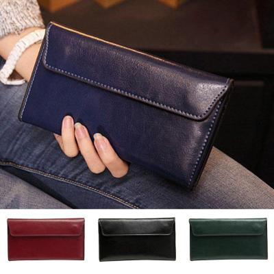Vintage PU Leather Long Wallet Women Slim Thin Wallet Purse Retro Clutch Bag ID Credit Card Holder Money Purse Black Wine Red