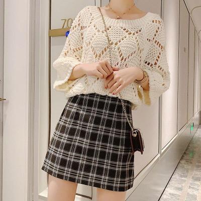 Vintage Plaid Wool Skirts Women Autumn Casual Mini Skirt Harajuku Korean Pencil Skirt Warp High Waist Plus Size Sexy A-Line W416