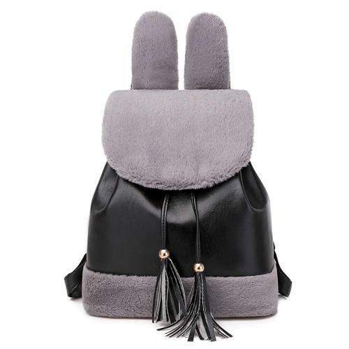Rabbit Ear Backpack Bags For Women Velvet Ladies Outdoor Bagpack School Backpack For Girls Tassel Female Shoulder-bag Bags