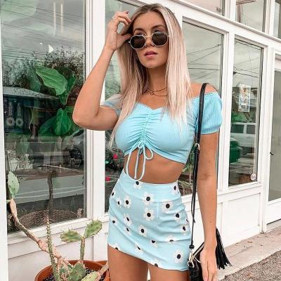 Foridol sunflower boho skirt women floral skirts bottoms 2020 summer new blue beach streetwear bodycon mini skirt