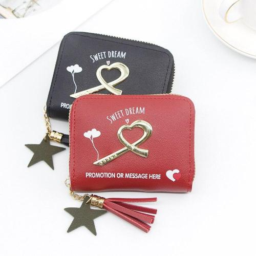 Wallet Female PU Coin Purse Clasps Small Wallet Purse Love Heart Sequins Women Short Purse PU Leather Money Wallet Card Holder