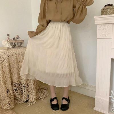 High Elastic Waist Pleated Skirts Women White Black Casual Chiffon Long Midi Skirts Elegant Vintage Harajuku Summer Skirt W922