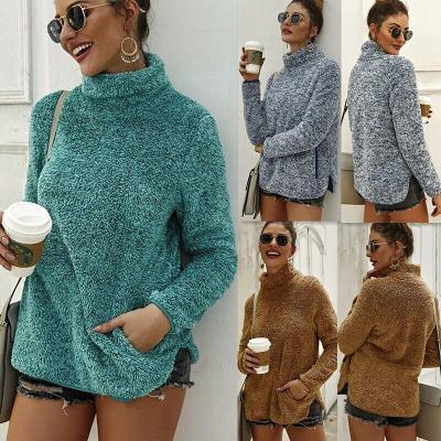 Hot Autumn Women's Long Sleeve Pullover Sweater Jumper Winter Warm Fleece Fur High Neck Ladies Casual Outwear Pullover Tops 2020