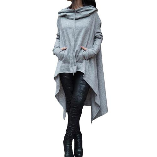 Women Solid Loose Asymmetric Hoodie Ladies Hooded Irregular Hem Sweatshirt Elegant Casual Long Tops With Pocket Harajuku#Y3