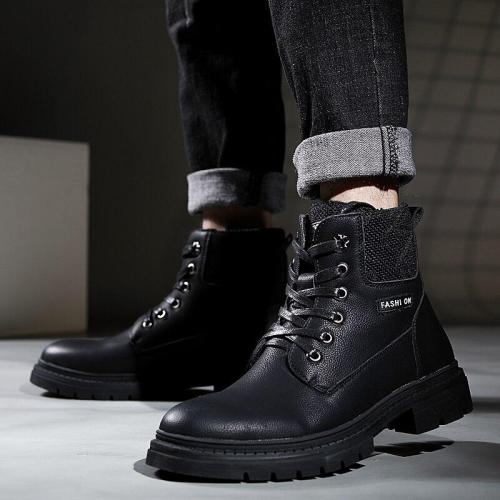 Warm Working Boots High Quality Fashion Winter Men's Martin Boots Lace Up Men's Desert Boots Round Toe High Top Shoes 2020 New