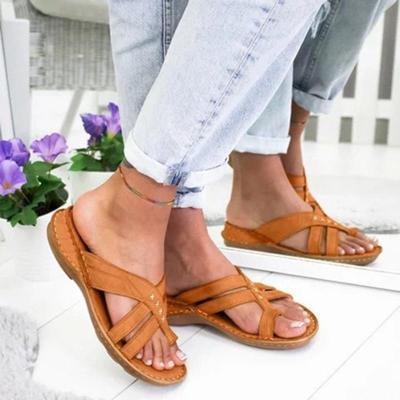 Gladiator Sandals Women Comfy Slippers 2020 Fahion Roman Wedge Sandals Low Heels Beach Shoes Casual Flip Flops Sandalia Feminina