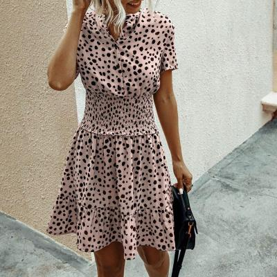 Women Summer Dress Short Sleeve Polka Dot Chiffon Beach  Sundress 2020 Fashion Casual Floral Printed Mini Dresses For Women D30