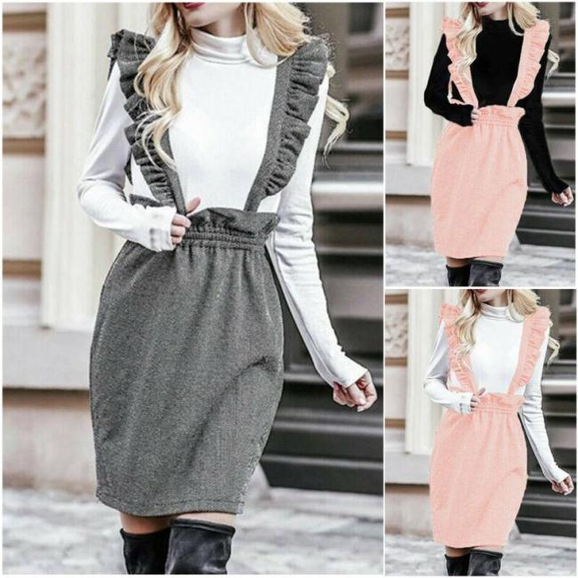 Women Ruffles High Waist Skirt Mini with Shoulder Straps Pleated Suspender Solid Color Fashion Overall Skirts