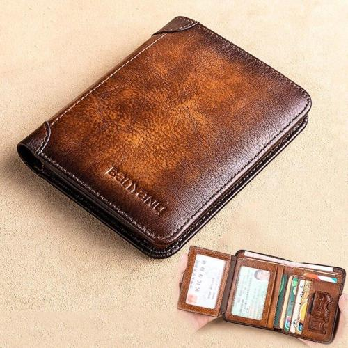 New Genuine Leather Rfid Wallets for Men Vintage Thin Short Multi Function ID Credit Card Holder Money Bag