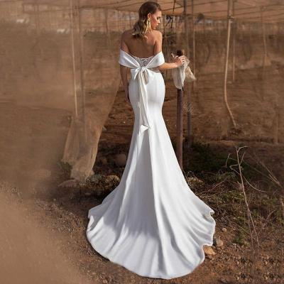 Eightree Simlple Satin Mermaid Wedding Dress Strapless Vestido de noiva Appliques Bridal Gowns Backless Trumpet Wedding Dresses
