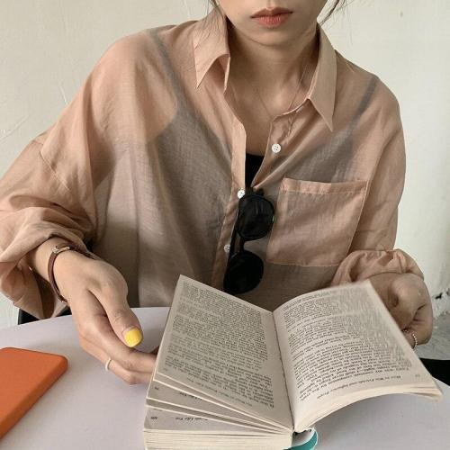 Spring Summer Korean Leisure Cardigan See-through Lapel Pocket Sunscreen Solid Loose Shirts Women Blusas Fashion Streetwear 2020
