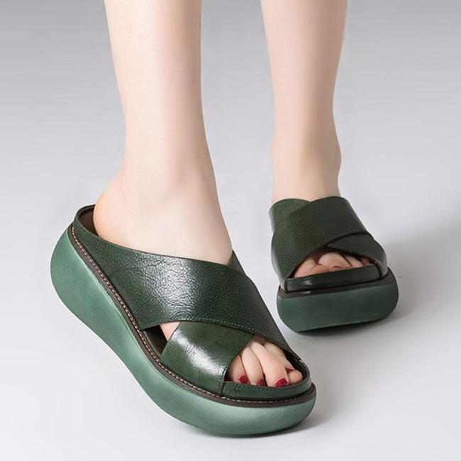 Women Sandals Soft Leather Wedges Shoes Woman Summer Sandals Beach Flip Flops New Platform Sandalias Mujer Wedge Heels Sandals