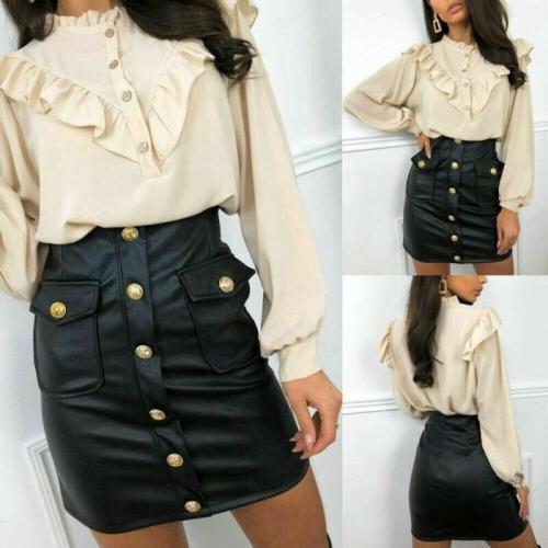 Women PU Leather Mini Skirt High Waist Solid Color Evening Party Button Bodycon Club Party Pencil Skirts
