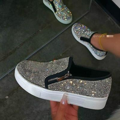 Women Flat Glitter Sneakers Casual Female Mesh Lace Up Bling Platform Comfortable Plus Size Vulcanized Shoes 2020 Soft Knitting