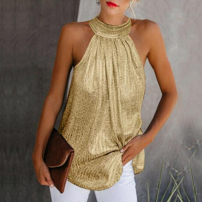 Women Gold Blouse 2020 New Fashion High Neck Sleeveless Hatler Tank Top Vest Summer Casual Loose Blouse Shirt Tee