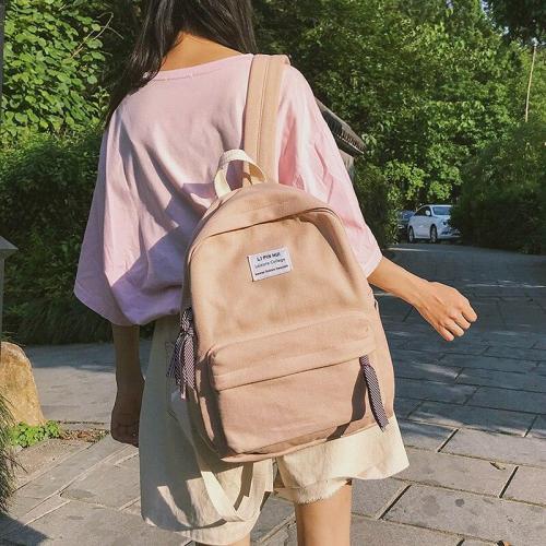 Applique Solid color women backpacks teenage girl Cotton Fabric school satchel female Casual fashion Student bag harajuku ladies