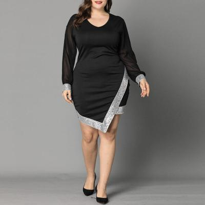 6XL Women Summer Dress 2020 Plus Size Maxi Dress Evening Party Elegant Ladies Dress Long Sleeve Irregular Hem Black vestidos D30