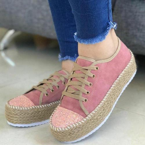 Women Canvas Shoes Women Casual Hemp Thick Bottom Flats Lace-up Fashion Ladies Autumn  Vulcanized Shoes White Sneakers