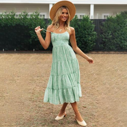 Summer Women Dress Sleeveless Casual Beach Spaghetti Strap Cami Dress For Ladies Ruffle Backless Floral Female Midi Dress D30