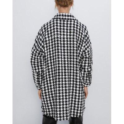 Fandy Lokar Houndstooth Jackets Women Fashion Pockets Coats Women Elegant Long Sleeve Zipper Jackets Female Ladies HAA