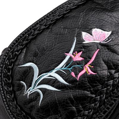 3-in-1 Women Soft Leather Backpacks High Quality Sac A Dos Embroidery Flowers Chest Back Pack Female Mochilas Bagpack Ladies New