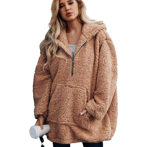 Women Warm Hooded Zipper Sweatshirt Artificial Wool Pullover Winter Parka Outerwear Solid Lamb Cashmere Khaki Pocket Top#Y3